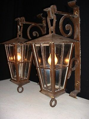 """Vintage French large wrought iron lanterns sconces 27"""" Tall France"""