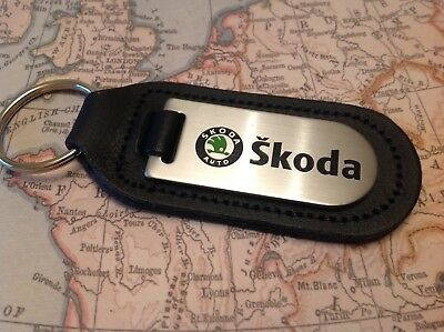Skoda  Black Leather Key Ring Fob Etched And Infilled Octavia Superb Karoq Fabia