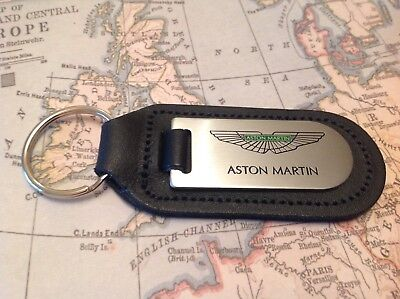 Aston Martin  Black Leather Key Ring Fob Etched And Infilled Vantage Db 7 8 9 10