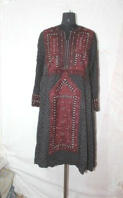 Vintage Ethnic Banjara Embroidered Tribal Hand Balochi Gypsy Antique Dress BC-6