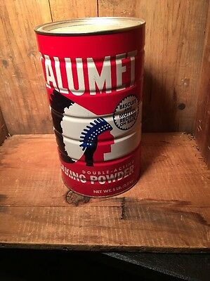 Vtg Calumet Baking Powder Tin 5 Lb W/lid Advertising Tin