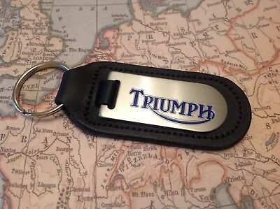 Triumph I Black Leather Key Ring Fob Etched And Infilled Motorcycle Motor Bike