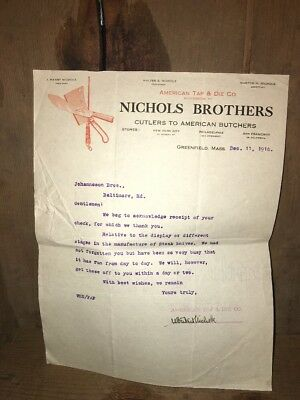 1916 NICHOLS BROTHERS AMERICAN BUTCHER CUTLERS Letterhead