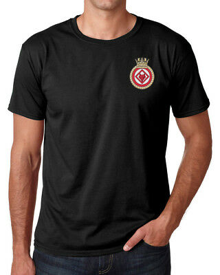 HMS Atherstone - Official Royal Navy - Black Embroidered T-Shirt