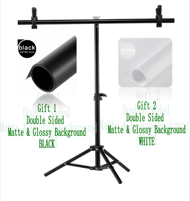 Photography Support Stand  + 2 Double Sided Matte Glossy Background BLACK&WHITE