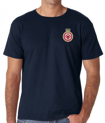 HMS Atherstone - Official Royal Navy - Navy Blue Embroidered T-Shirt
