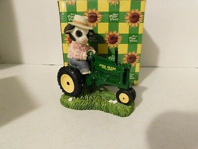 "Mary Moo Moos ""JOHN DEERE TRACTOR FIG"" Figurine With Box"