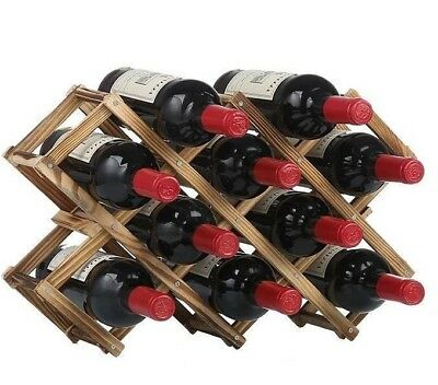 Wooden Foldable Red White Wine Rack Stand Bottle Holder Shelf For 10 Bottles AU