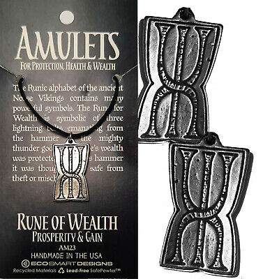"VIKING NORSE AMULET ""RUNE OF WEALTH"" PROSPERITY & GAIN 2-sided Pendant +Cord"