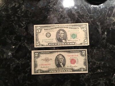 1953  $2 United States  Note - STAR NOTE + 1963 A $5 FRN - Chicago