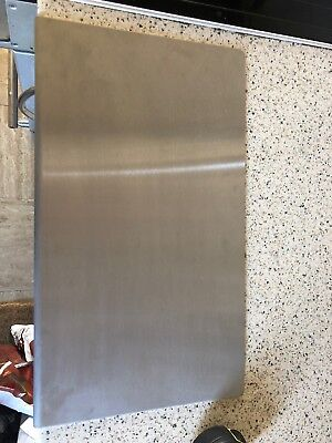 Stainless Brushed Steel Kitchen Worktop Protectors  Curved Edges  400mm X 230mm