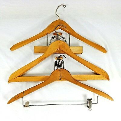 Wood Suit Pant Hangers Lot of 3 Wishbone Diplomat And Unbranded