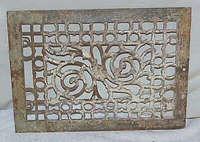 Vintage ornate cast iron GRATE cover register wall heating  13-1/2  x  9-3/4