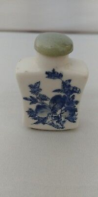 Chinese ceramic, hand painted snuff bottle with bottom mark.