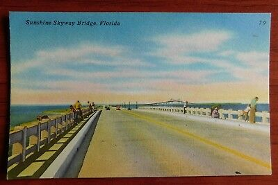 Postcard linen - Sunshine Skyway Bridge, Florida - unposted