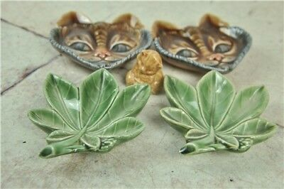 5x WADE 3x4'' Cat And Leaf Ornaments + Kitten  GOOD CONDITION Collectables