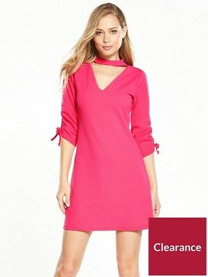 V BY VERY RRP £38 Lace Frill Sleeve Chocker Bodycon Dress -  11.48 ... 4a6c1ee8418