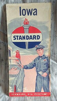 Standard Oil Red Crown Gas State Of Iowa Highway Road Map 1950 Vintage Travel