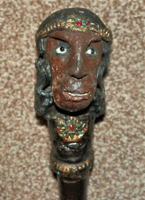 Antique Hand-Carved Egyptian Man Head Rustic Blackthorn Walking Stick 92cm