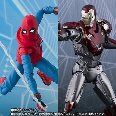 Bandai S.H.Figuarts Spider-Man (Homecoming) HOME MADE SUIT ver. & Ironman MK-47
