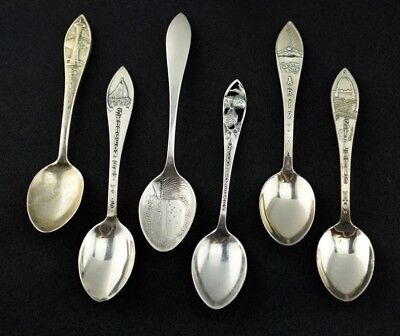 Lot of 6 Sterling Silver Souvenir Spoon Demitasse Collection