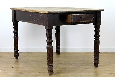 Victorian pine prep table with drawer dark wooden rectangle dining table