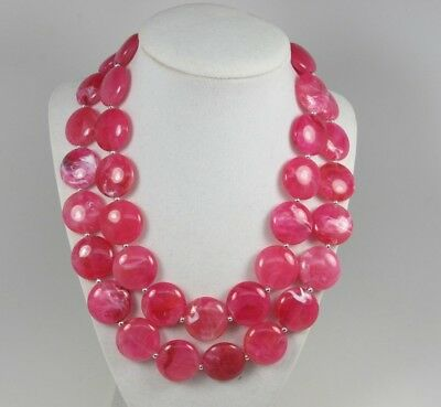 Chunky pink statement necklace, multi strand fuchsia statement necklace