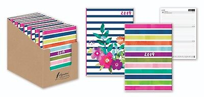 2019 A5 Diary Week to View WTV Stripe Fashion Designs Hard Back Casebound Diary