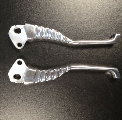Brake & clutch 'dog leg' levers polished alloy (PAIR) for Lambretta