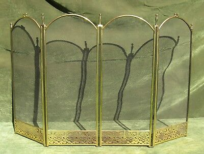 """Vintage Antique Style Arched Brass Steel 4 Fold Fire place Screen 51"""" W"""