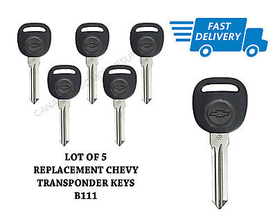 Lot of 5 New Transponder Ignition Uncut Chip Keys B111 Fits GM Chevrolet Buick