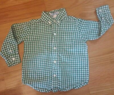 Boy Size 12-18 Months Green White Janie and Jack Linen Shirt