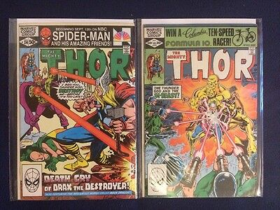 The Mighty Thor # 314 and 315 Marvel Comics 1981-82 FN/VF