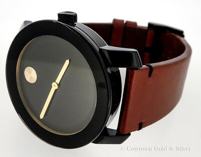 bc919ec4d Movado Mens Bold 42Mm Black Dial Brown Leather Band Swiss Watch 3600305