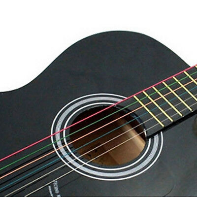 EP_ Perfect 6 Pcs Rainbow Colorful Color Steel Strings for Acoustic Guitar Solid