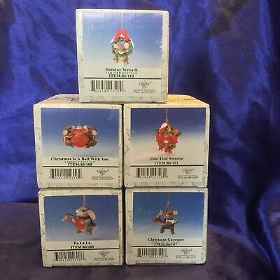Lot Of 5 Fitz & Floyd Charming Tails Christmas Ornaments in Orginals Boxes NOS