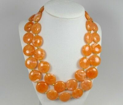 Chunky orange necklace,  statement orange necklace,handmade  beaded coral red or