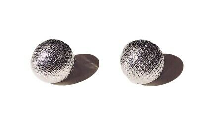 VINTAGE SIGNED - TRIFARI - 1970s Disco Ball Golf Silver Plated Clip on Earrings