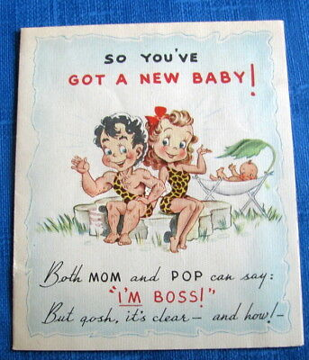 new baby wears the pants humorous vintage congratulations greeting card 40s