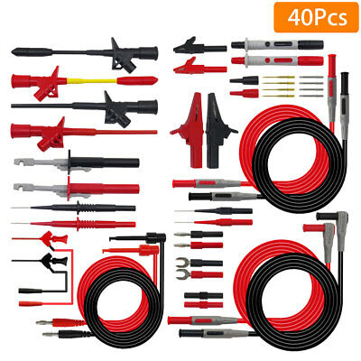 UK 40Pcs Replaceable Digital Meter Multimeter Probe Test Lead Kits Banana Plug