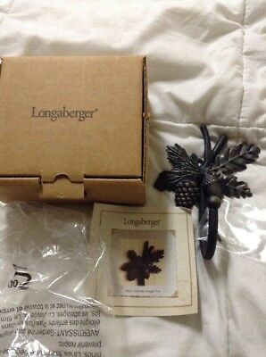 NEW Longaberger Brown Wrought Iron Toboso Hook - #71304 (Leaves with Acorn)