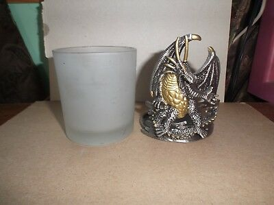 Dragon Candle Holder Votive Pewter with Frosted Glass - Silver & Gold colors -