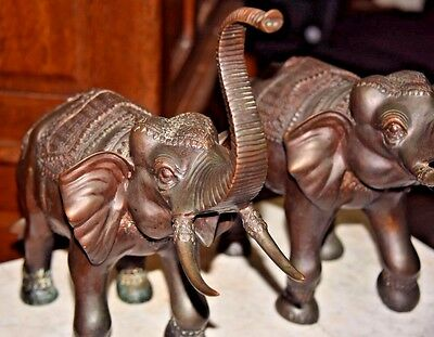 PAIR of Vintage Large Bronze Asian Indian ELEPHANT SCULPTURES Signed P. Gains