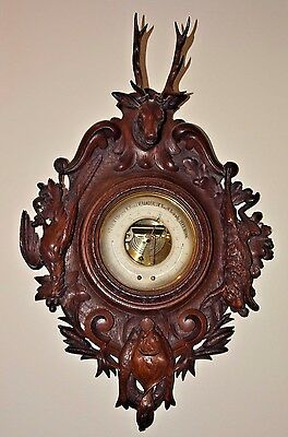 19th C. DUTCH Carved wood Hunt Case Stag Head Rabbit Fish Thermometer Barometer