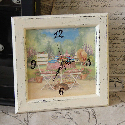 Vintage Clock with Watch Movement 23x23cm Antikuhr Wooden Wall Country House