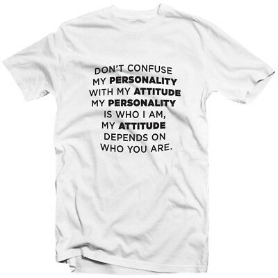 Don/'t Confuse My Personality And Attitude Funny Joke Comedy Mood FITTED T-SHIRT