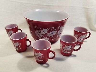 Hazel Atlas 6 Pc Set Red & White Holly Eggnog Punch Bowl Mug Salad Bowl