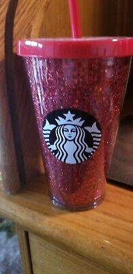 Brand New Starbucks 2018 Red Glitter Stars Holiday 16 ounce Cold Drink Cup