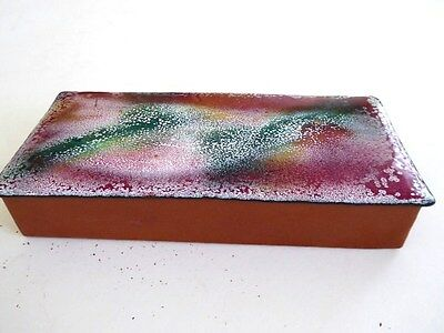 Vintage 70's Modernism mid century enamel on copper abstract cigarette box