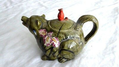 """Antique Japanese Banko glazed clay pottery hand painted Bear large teapot, 7"""""""